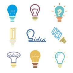 bulb idea icons set, vector illustration