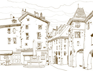 Graphic sketch depicting traditional urban European landscape