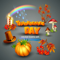 Thanksgiving illustration. vector Icons
