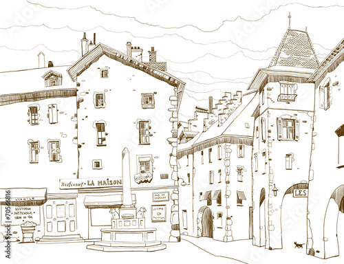 Graphic sketch depicting traditional urban European landscape © polinina