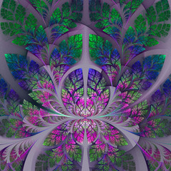 Fabulous fractal pattern in purple, blue and green. Collection -