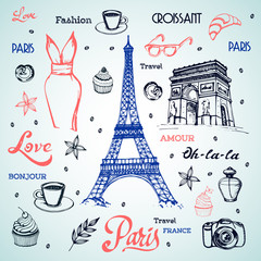 Paris hand drawn illustration with Eiffel tower