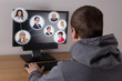 social media concept - man using a computer