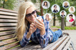 social network concept - woman using smartphone and icons with p
