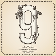 Calligraphic Font. Number 9. Vector Design Background