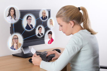 job search concept - woman using personal computer