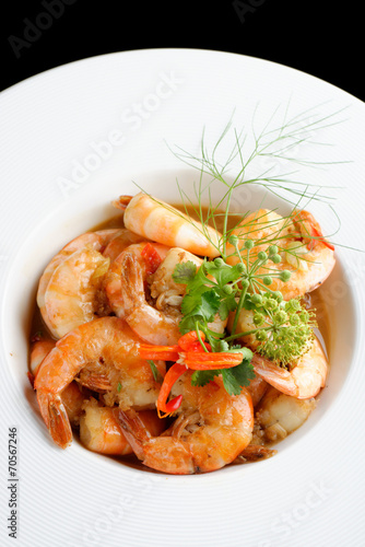 Papiers peints Coquillage Shrimps in Singapore style spicy sauce