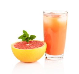 Studio shot sliced grapefruit juice mint isolated white