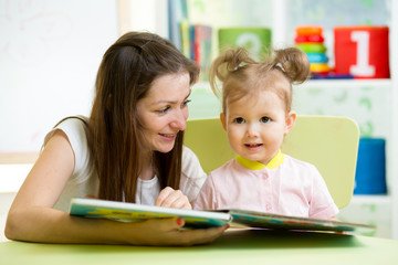 mom and kid read a book
