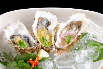 Fresh Oysters with three sauces/Fusion food
