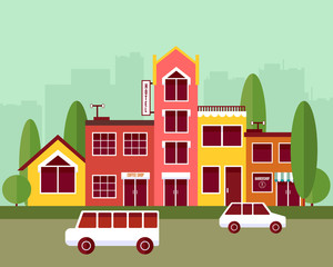 City street flat vector composition. Building block illustration
