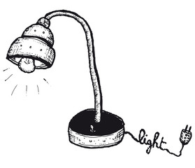 Hand drawn isolated lamp
