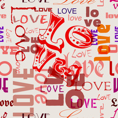 love illustration seamless pattern, typography, vector