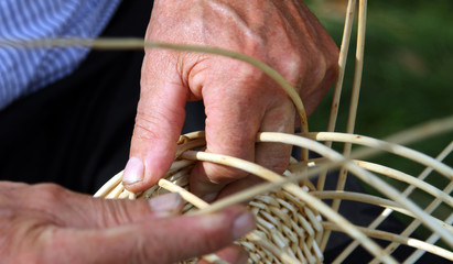 old craftsman hands who works the cane to make a wicker basket