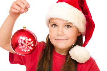 Young happy woman in christmas cloth