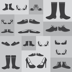 black boots and shoes on gray background eps10
