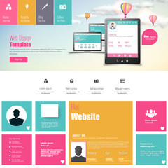 Flat vector website template with mobile gadgets