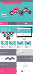 Modern Flat One page website design template.