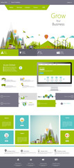 Modern Flat Eco One page website design template.