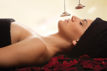 Woman spa sound therapy