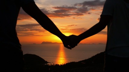 Romantic Young Couple Holding Arms at Sunset. Slow Motion.