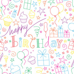 """HAPPY BIRTHDAY"" Seamless Pattern (congratulations card message)"