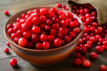 Cranberries in brown bowl