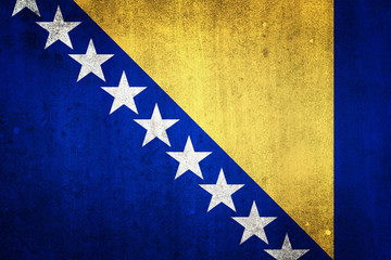 National flag of Bosnia and Herzegovina. Grungy effect.