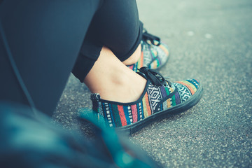 close up of hipster woman shoes