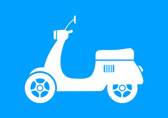 White scooter icon on blue background