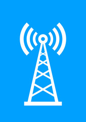 White transmitter icon on blue background
