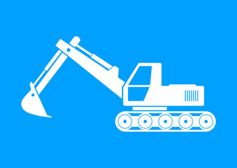 White excavator icon on blue background