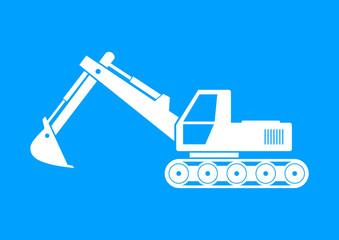 White excavator icon on blue background