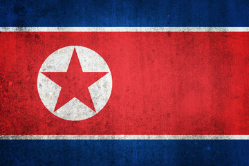 National flag of North Korea. Grungy effect.