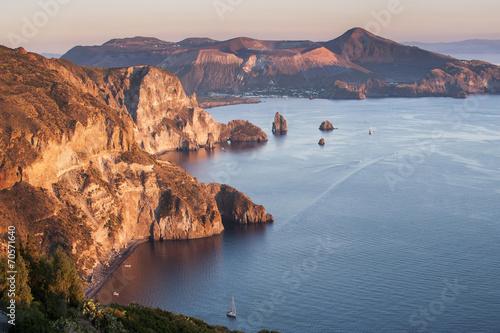 Leinwanddruck Bild view on Vulcano island from Lipari, Sicily, Italy
