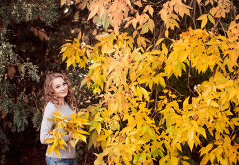 beautiful  woman  outdoors in autumn