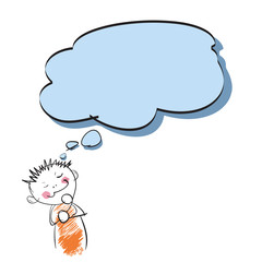 Cartoon kid thinking with speech bubble over white paper