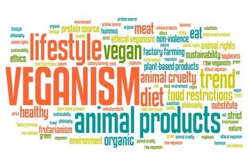 Veganism lifestyle - word cloud illustration