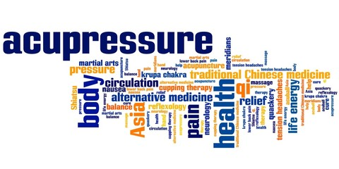 Acupressure medicine - word cloud illustration