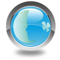 profil visage féminin sur bouton