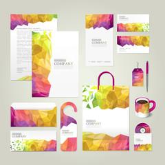 colorful geometric background corporate identity design set
