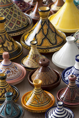 Colorful Moroccan pottery on the market