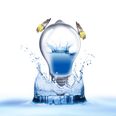 Light bulb with water inside and water splash