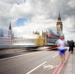 Red Bus crossing Westminster Bridge