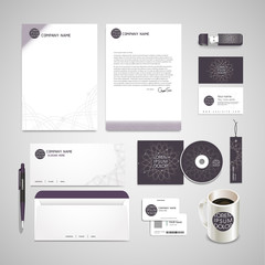 elegant flower shape background corporate identity set