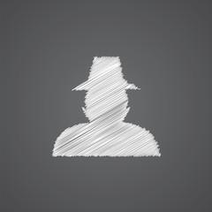 detective sketch logo doodle icon.