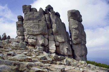Group rocks in the Giant Mountains, Poland .