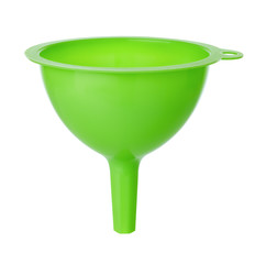 green plastic funnel isolated on white background