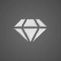 diamond sketch logo doodle icon.
