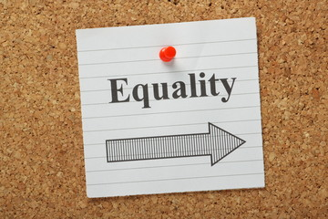 Equality This Way Reminder on a cork notice board